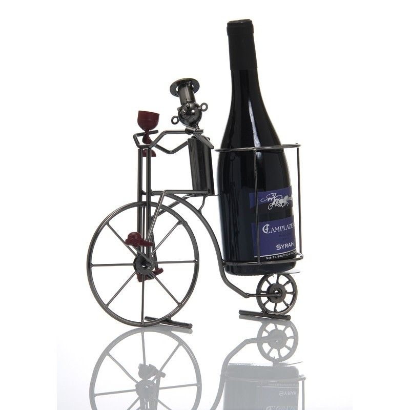 porte bouteille metal cuisinier a velo ludi vin vinolem. Black Bedroom Furniture Sets. Home Design Ideas