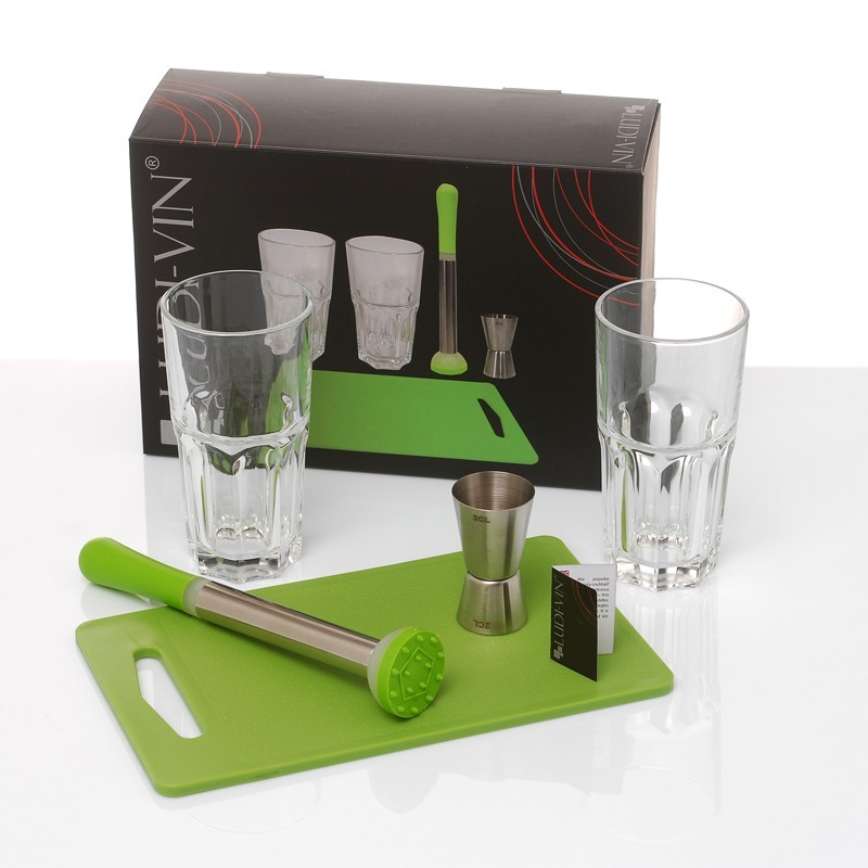 set cocktail mojito pilon planche 2 verres mesureur vinolem. Black Bedroom Furniture Sets. Home Design Ideas