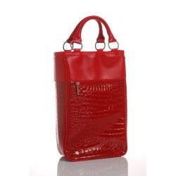 Red Designer Bag for 2 Bottles Insulated with Corkscrew