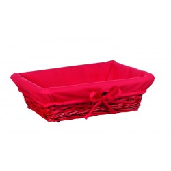 Panier rectD osier bois tissu rouge