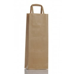 Ribbed Brown Kraft Paper Bag 1 Bottle
