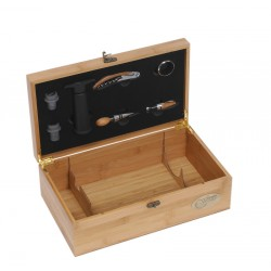 Bamboo Gift Box for 2 bottles with 7 accessories