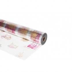 Rouleau cellophane decor Chai bordeaux or